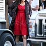 Pictures of Katie Holmes on the Set of Jack and Jill in LA
