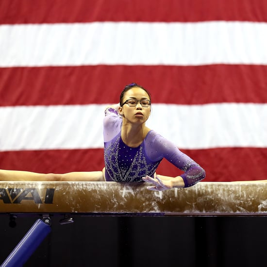 Watch Morgan Hurd Do a Backflip on Beam With a Face Mask
