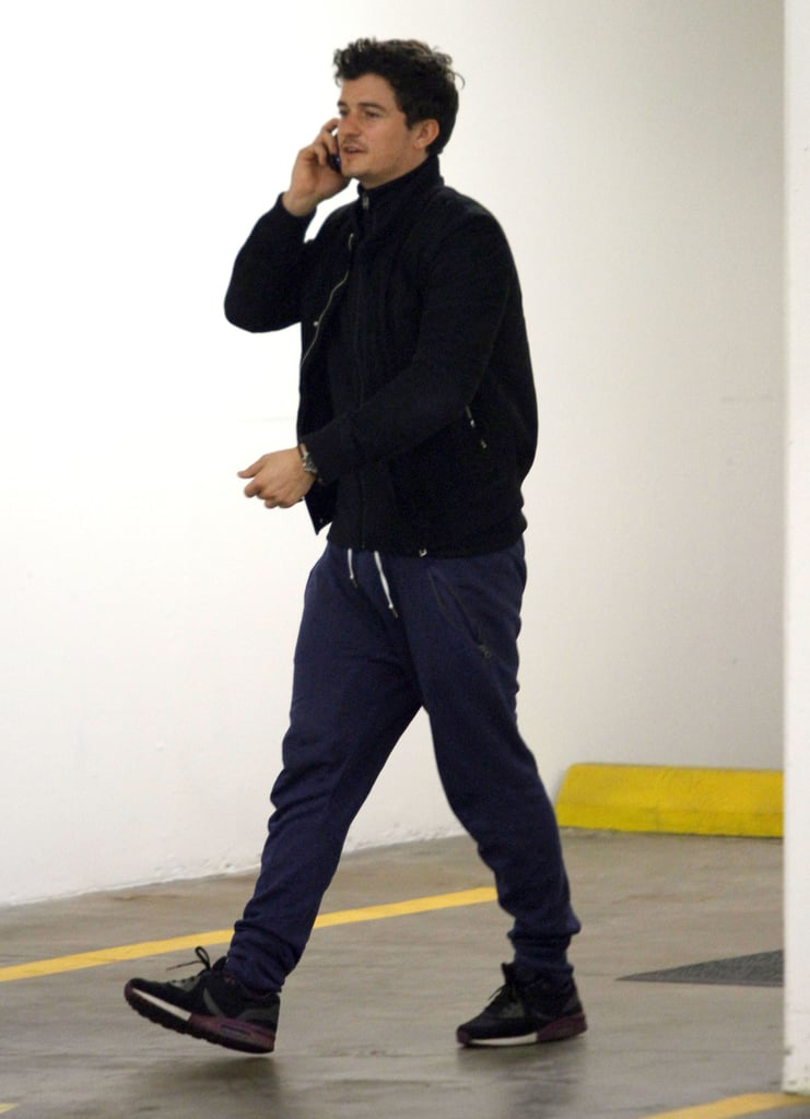 Orlando Bloom made a phone call in LA.