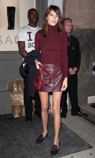 Alexa chose this vampy bordeaux Versus ensemble for the opening of the Versace store in NYC.