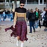 Style a Striped Sweater With a Checkered Skirt