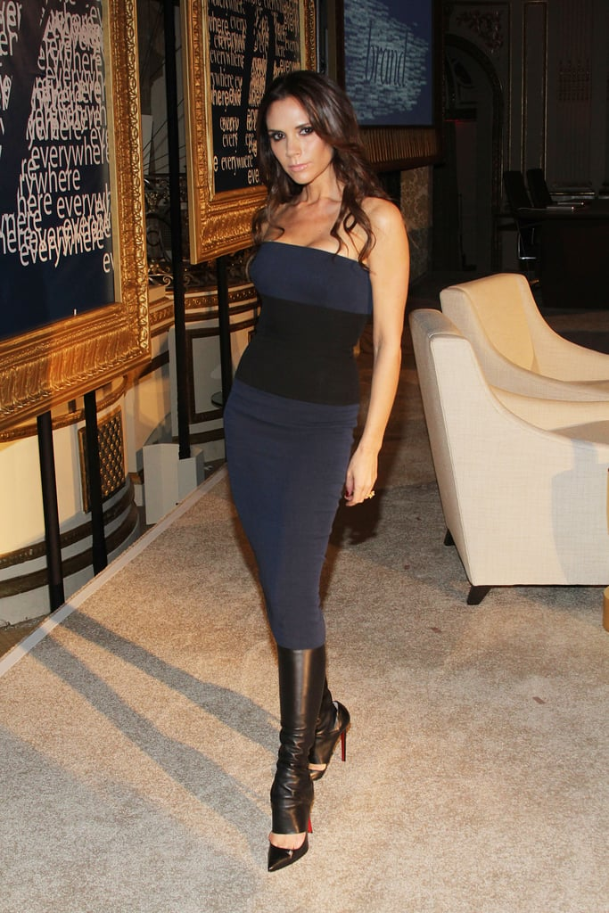 Victoria Beckham chose a pair of sky-high Christian Louboutins to complement her Victoria Beckham-branded dress.
