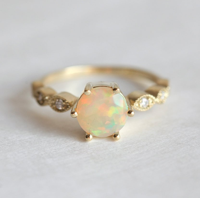 Capuccine Opal Engagement Ring