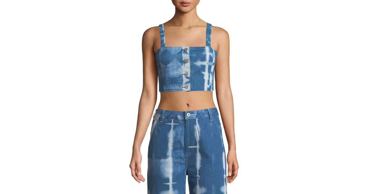 7a6448a9b5c Levi's Made & Crafted Button-Front Tie-Dye Denim Crop Top | Kim Kardashian  Denim Outfit With Kanye West February 2019 | POPSUGAR Fashion Photo 11