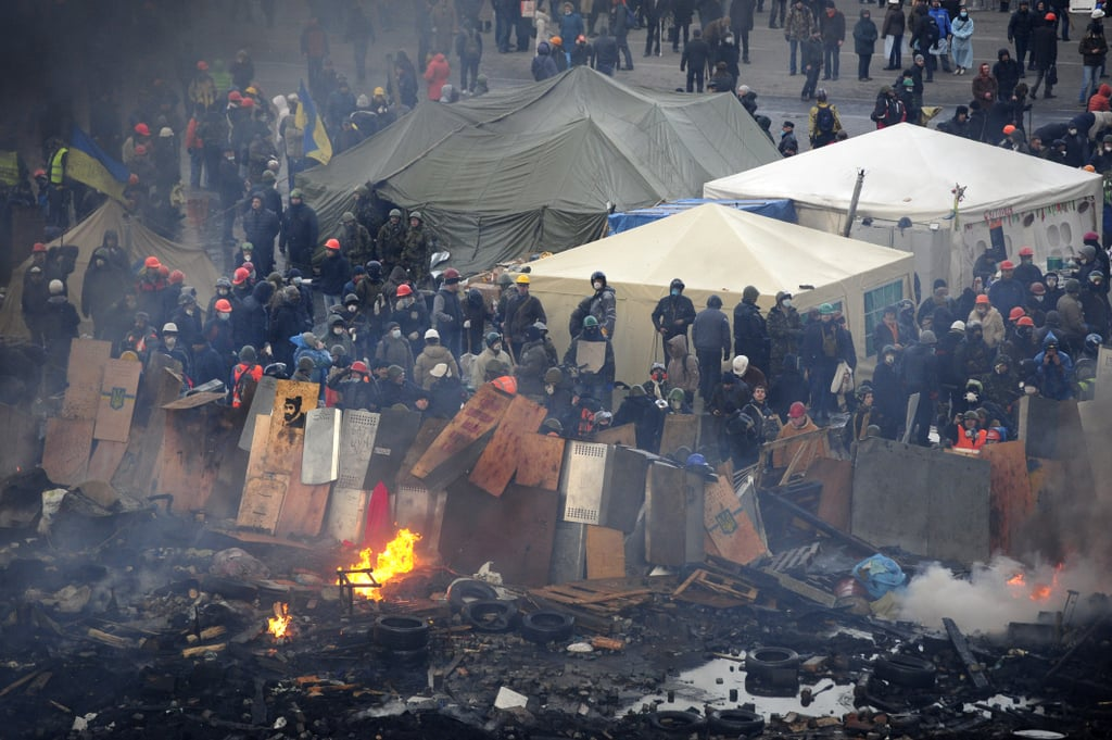 Protesters lined the square in Kiev, preparing to clash with police.
