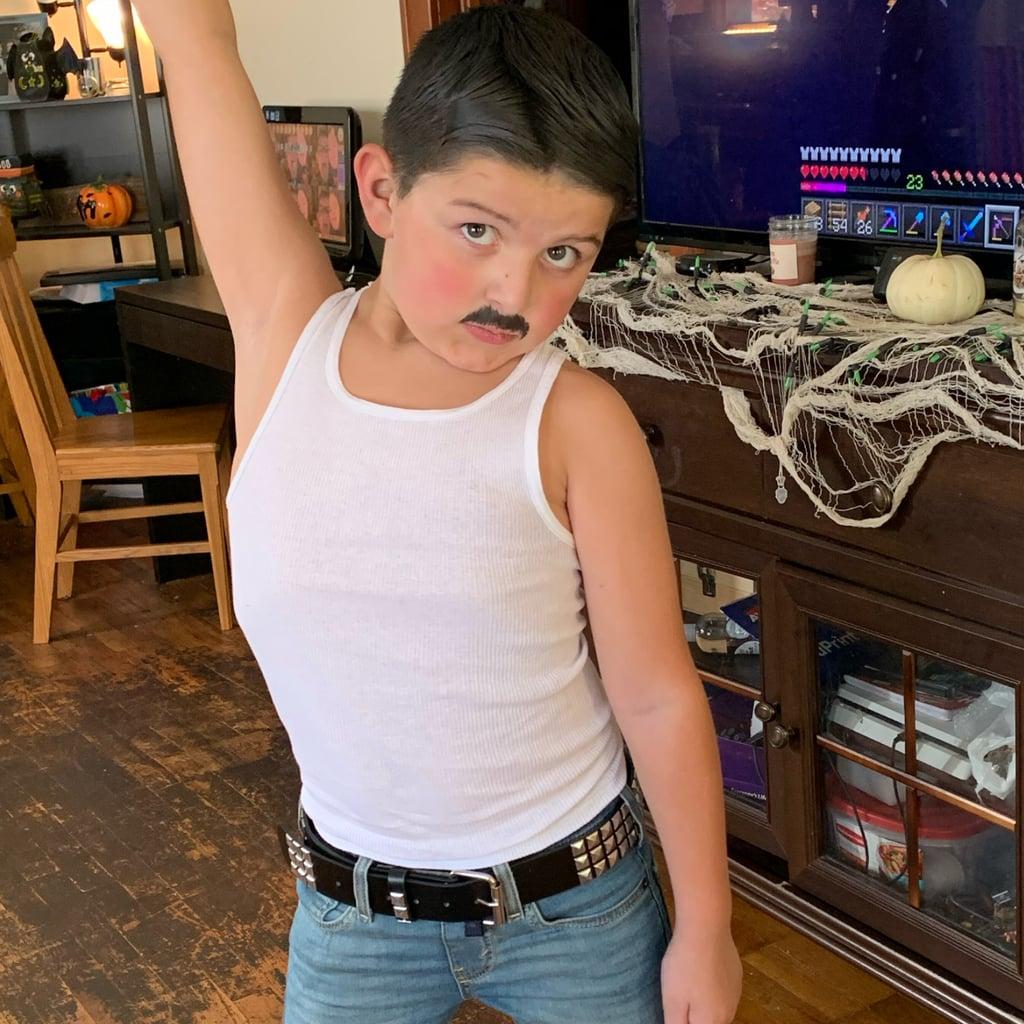 Little Boy Dressed as Freddie Mercury For Halloween Photos