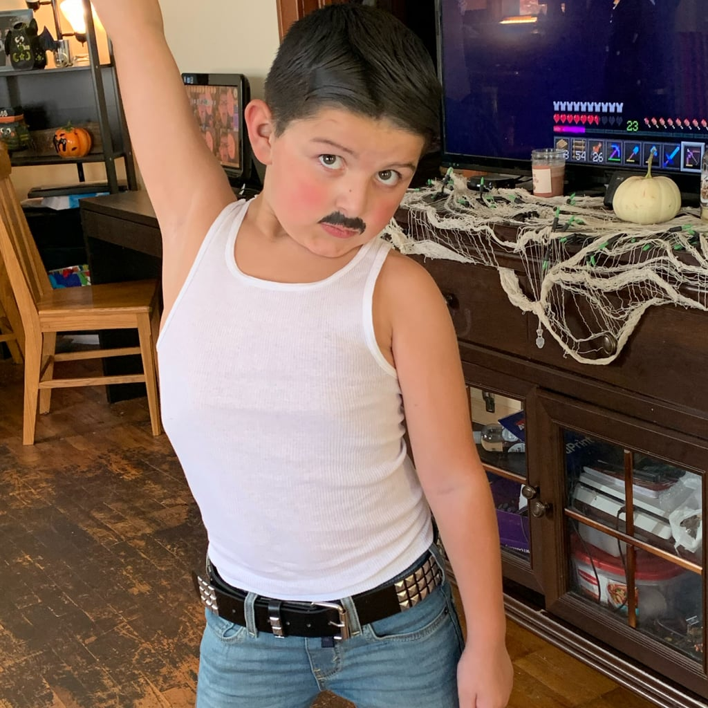 Little Boy Dressed as Freddie Mercury For Halloween Photos