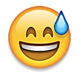 We think: Happy and inexplicably sweaty. What it actually is: This emoji just exercised, and is pretty proud of himself.