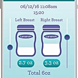 From the moment the pump is turned on, the app automatically tracks the time and date of the pumping session. Simple, manual inputs of milk volume complete the pumping session.