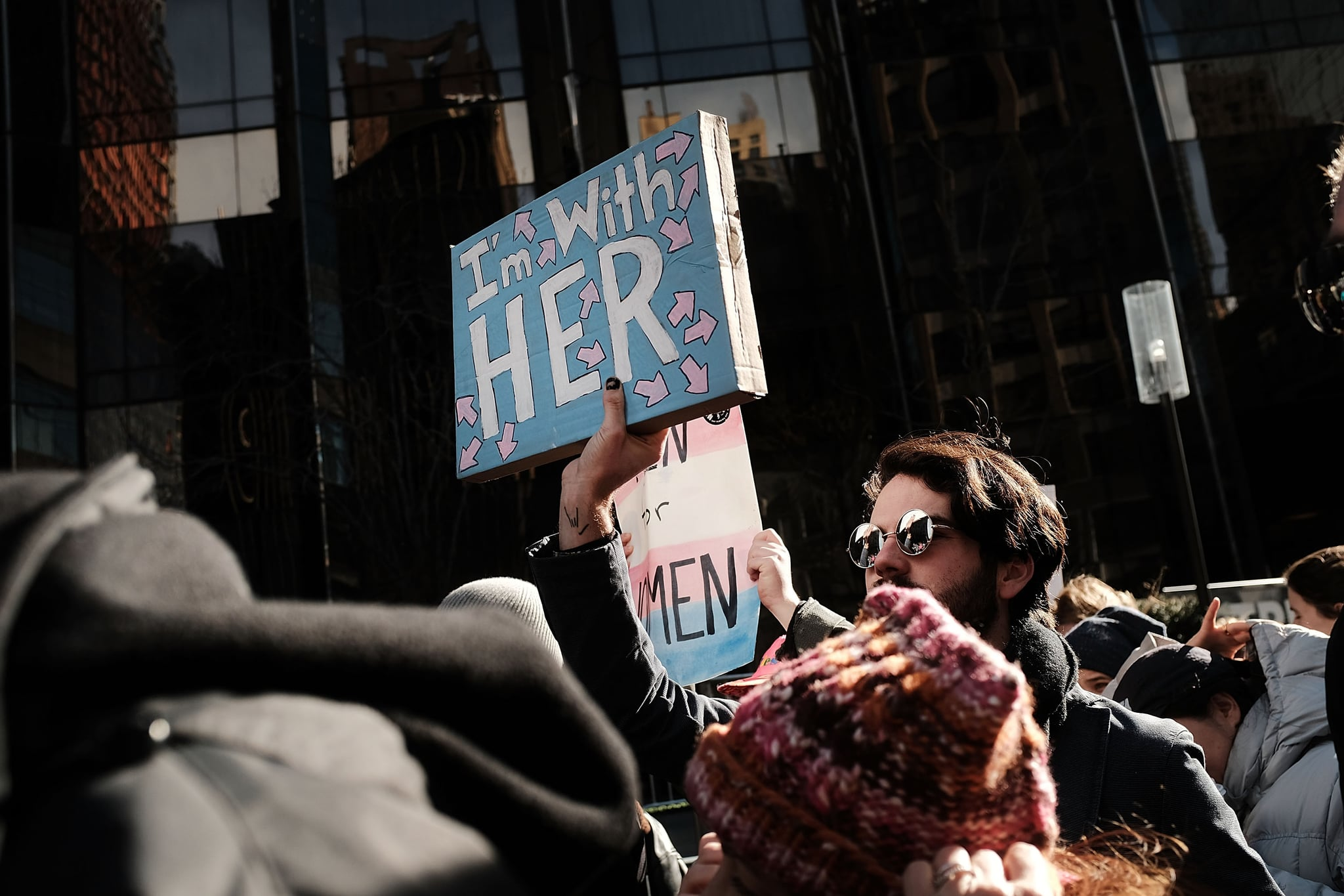 NEW YORK, NY - JANUARY 20:  Thousands of men and women hold signs and rally while attending the Women's March on January 20, 2018 in New York, United States. Across the nation hundreds of thousands of people are marching on what is the one-year anniversary of President Donald Trump's swearing-in to protest against his past statements on women and to celebrate Women's rights around the world.  (Photo by Spencer Platt/Getty Images)