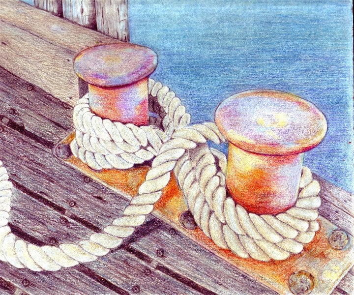 Dock Ropes Colored Pencil Painting Print ($15)