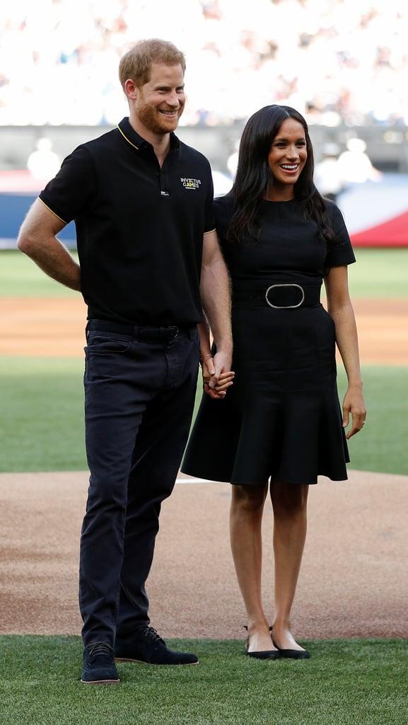 Meghan Markle Black Belted Dress at Baseball Game