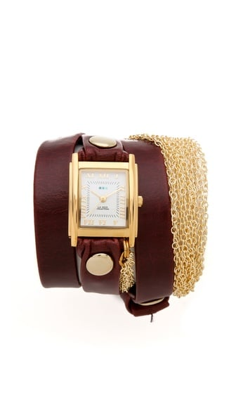 Now this is a watch with equal parts polish and edge. Thanks to La Mer's Rio Gold Chain Wrap Watch ($110), you can show off a timepiece that exhibits a classic leather silhouette with just a hint of updated flair. Bonus: add a few bracelets and make it a fabulous arm party.