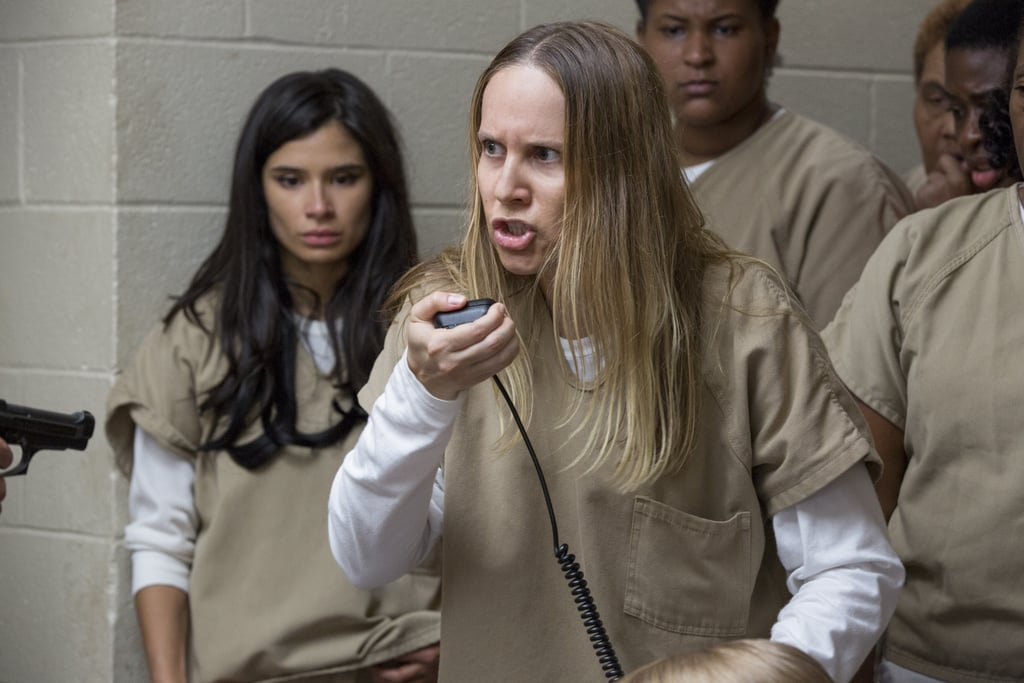 """Now that season five of Orange Is the New Black has premiered, you should be more familiar with Kelly Karbacz, who plays white supremacist leader Kasey Sankey. But if you've been wondering what she looks like outside of her khaki Litchfield jumpsuit, then look no further. While most of the characters on the Netflix show portray hardened women behind bars, the cast is a lot more glamorous in real life.        Related:                                                                                                           24 Awesome Snaps of the OITNB Cast Being Real-Life Friends               In fact, Kelly is nothing like her alter ego. Kasey is rough around the edges, and, well, pretty racist, while Kelly isn't used to saying and doing any of the things that her character does, making it very difficult for Kelly to play her. In a recent interview with Hidden Remote, Kelly opened up about what it's like playing Kasey, saying, """"I do think she has a heart, and I do think that she's a complex character. She's challenging for me. Saying and doing these things are nothing like me in life, so it's difficult."""" Kelly then explained what she does to """"bring her to life,"""" adding, """"What I do is try to find little ways to connect with her . . . to make her honest and truthful and tell the story that the writers want to tell. So I try to remember not to judge her. I reflect and think, 'OK, this is what she knows, and this is why she behaves this way.' And then I try to find the kernels to hold onto so I can breathe life into her."""" Even though Kelly's makeunder may not be as dramatic as the others, would you be able to pick her out of a lineup?"""