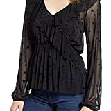 Glam Squad Mesh Ruffle Faux Wrap Top