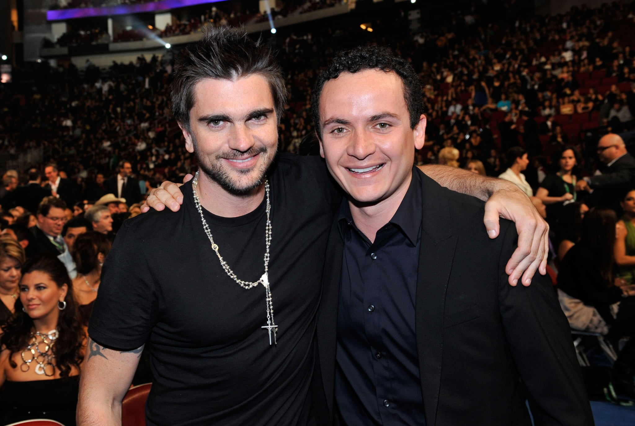 *EXCLUSIVE* Singers Juanes and Fonseca at the 9th Annual Latin GRAMMY Awards held at the Toyota Center on November 13, 2008 in Houston, Texas. ***Exclusive*** (Photo by Rodrigo Varela/WireImage)