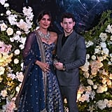 For their second reception party in Mumbai, Priyanka wore a gorgeous midnight blue outfit with a sparkling necklace by Sabyasachi.