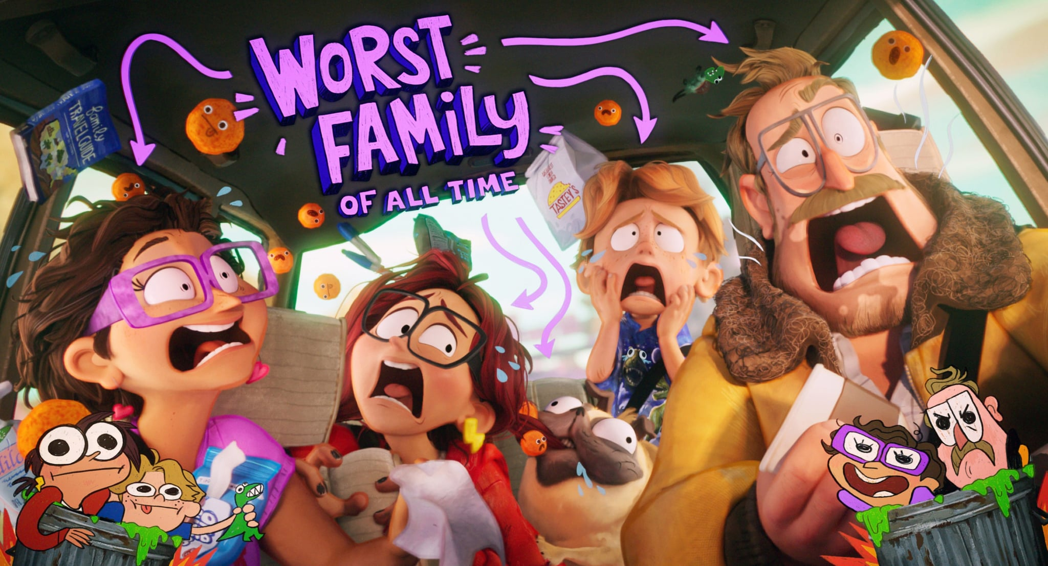 THE MITCHELLS VS. THE MACHINES, from left: Linda Mitchell (voice: Maya Rudolph), Katie Mitchell (voice: Abbi Jacobson), Monchi (Doug the Pug), Aaron Mitchell (voice: Mike Rianda), Rick Mitchell (voice Danny McBride), 2021.  Netflix / Courtesy Everett Collection