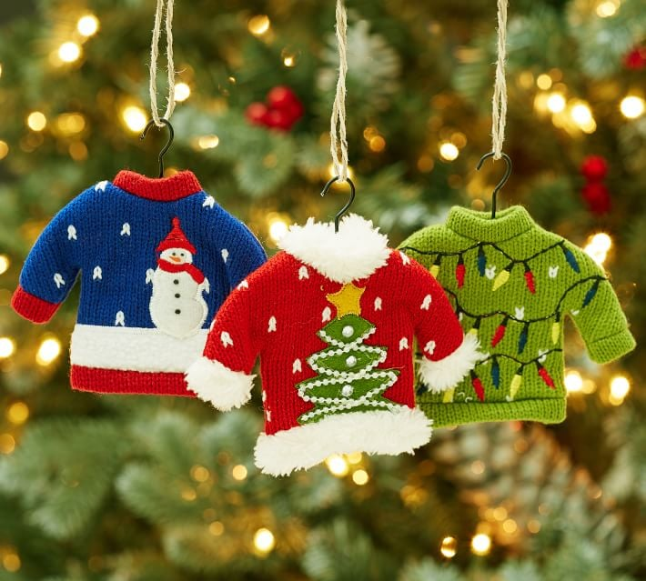ugly sweater ornaments - Ugly Christmas Decorations