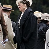 Maggie Smith shot a party scene for Downton Abbey in London on Wednesday.