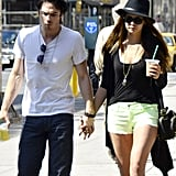 Ian Somerhalder and Nina Dobrev stopped for Starbucks during a stroll in NYC.