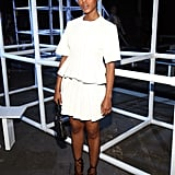 Kerry took an all-white approach in a leather peplum top and pleated skirt, both by Alexander Wang, at the designer's Spring 2014 show in NYC. She finished with Wang's lace-up pumps.