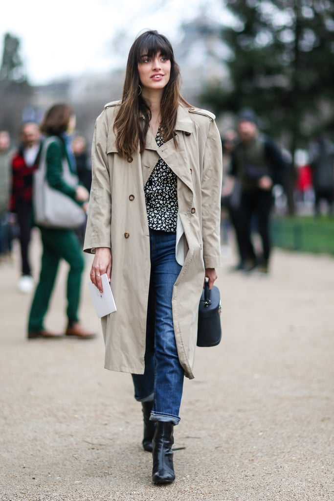 A Leopard-Print Top, Jeans, Ankle Boots, and a Long Trench Coat