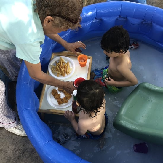 Grandma Feeds Grandkids While in the Kiddie Pool