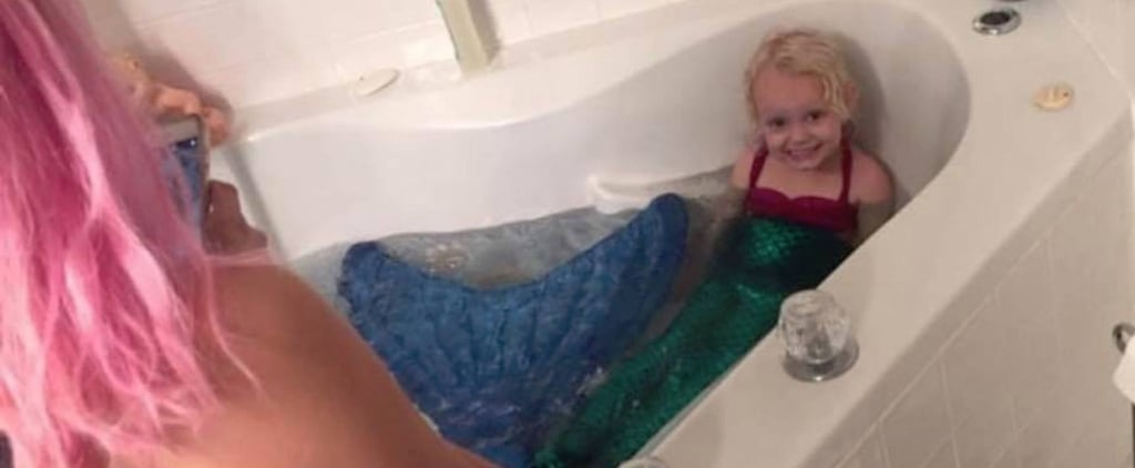 Teen Dresses Up Like a Mermaid While Babysitting