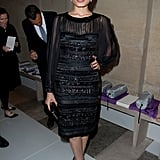 Freida Pinto wore all black to the Salvatore Ferragamo Resort collection show in Paris.