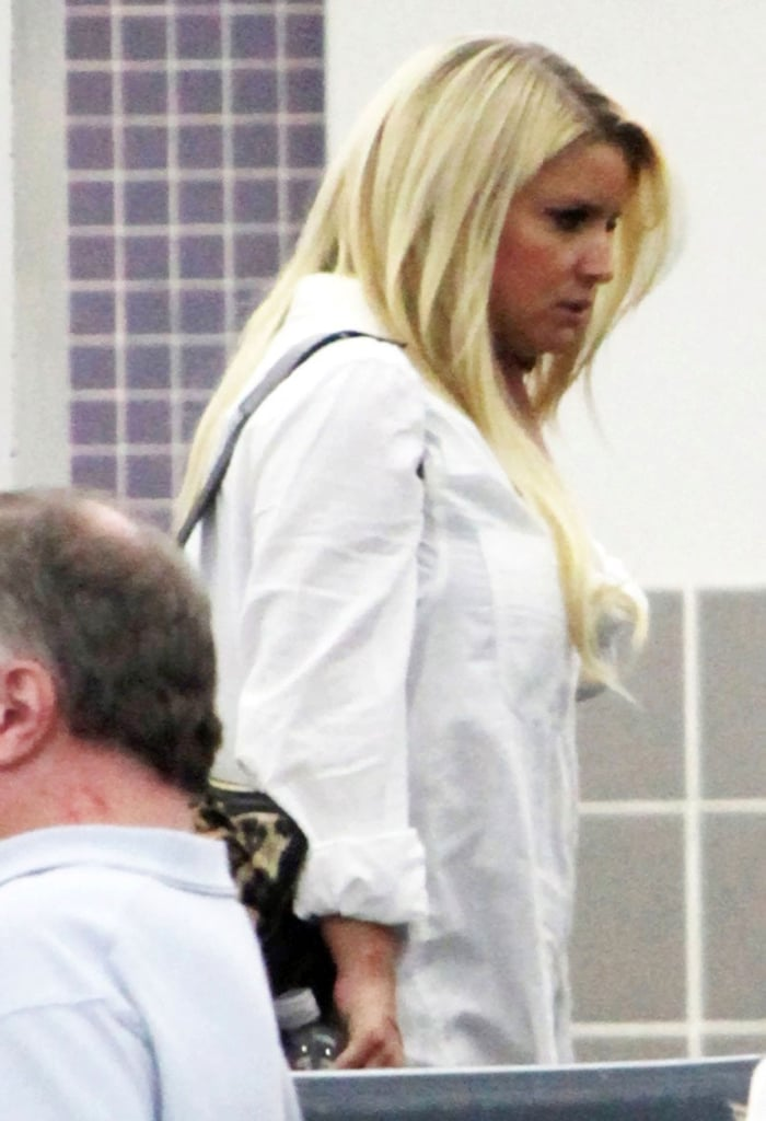 Jessica Simpson arrived at the New Orleans airport on Saturday.