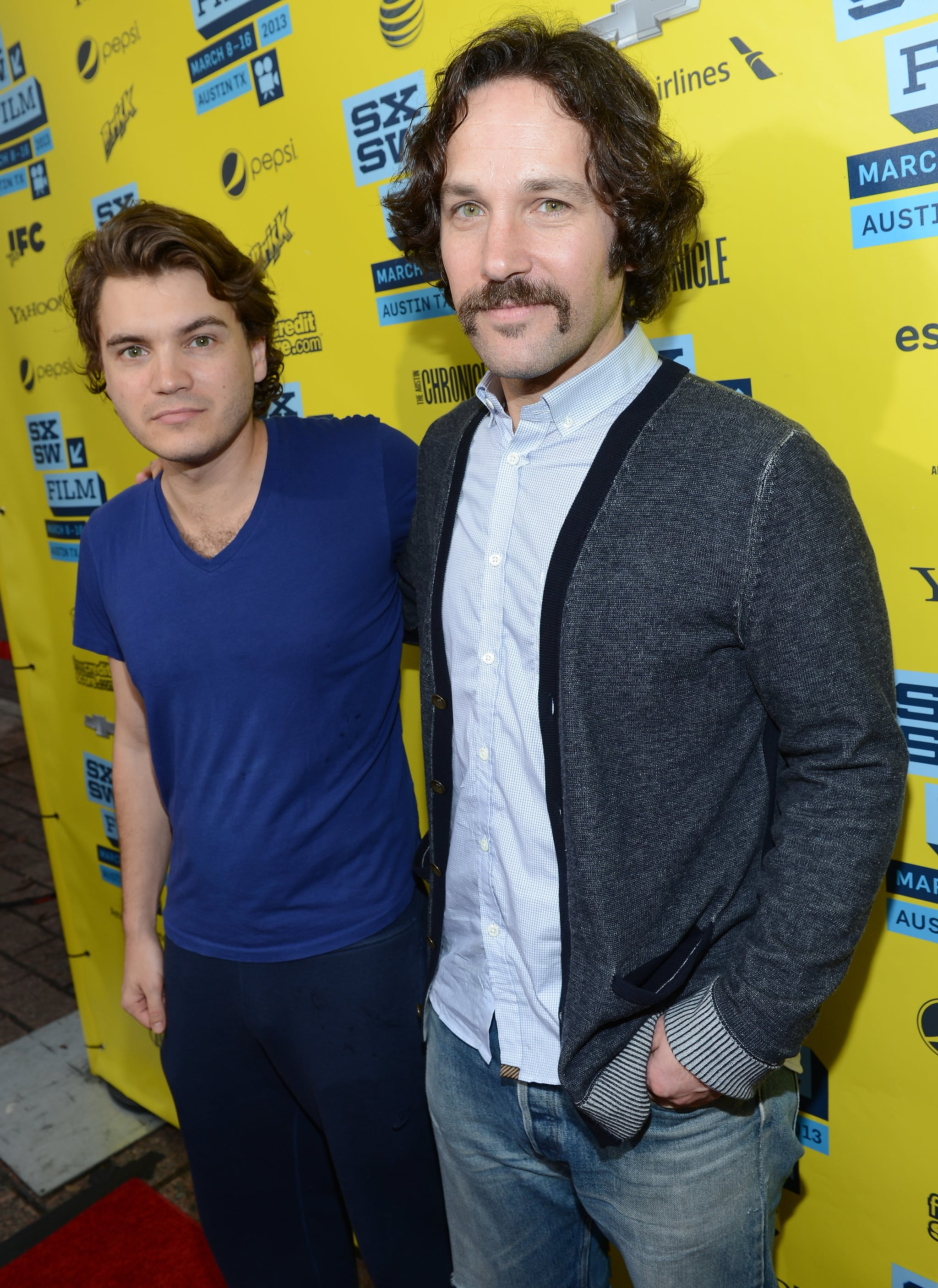 Emile Hirsch and Paul Rudd posed together at the Prince Avalanche screening at SXSW.