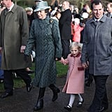 Princess Anne, Peter Phillips, and Daughter Isla Phillips at Christmas Mass in King's Lynn, England, in 2016