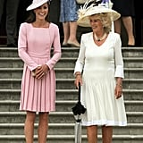 "Kate: ""Why are you carrying an umbrella when it's not raining?""  Camilla: ""If people get too close, I like to jab them."""
