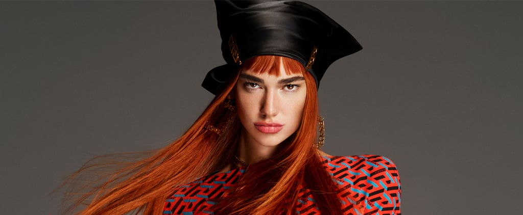 Dua Lipa Gets Red Hair and Bangs For Versace Campaign