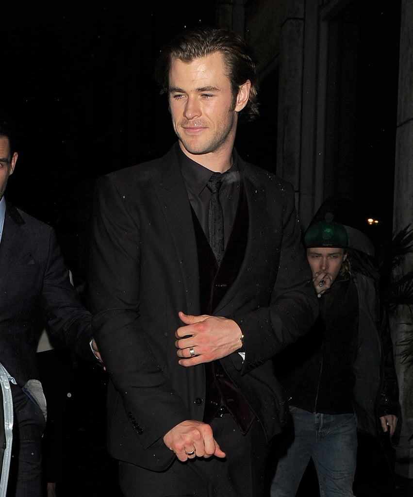 Chris Hemsworth dressed in black for the Thor: The Dark World premiere afterparty in London on Tuesday.