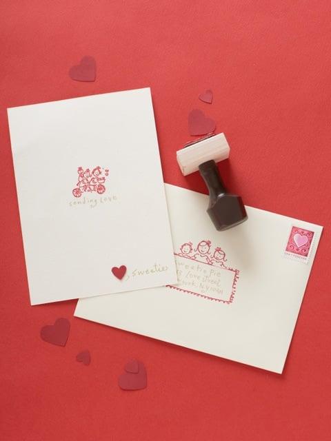 Rubber Stamp Valentine's Day Card