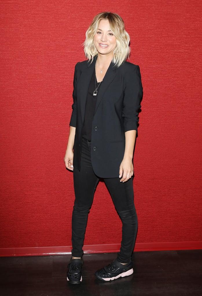 Kaley Cuoco Wearing Dior Sneakers at Burning Bodhi Opening