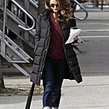 Keri Russell walked over to set.