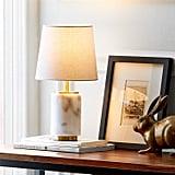 Rivet Mid Century Modern Marble Mini Table Decor Lamp