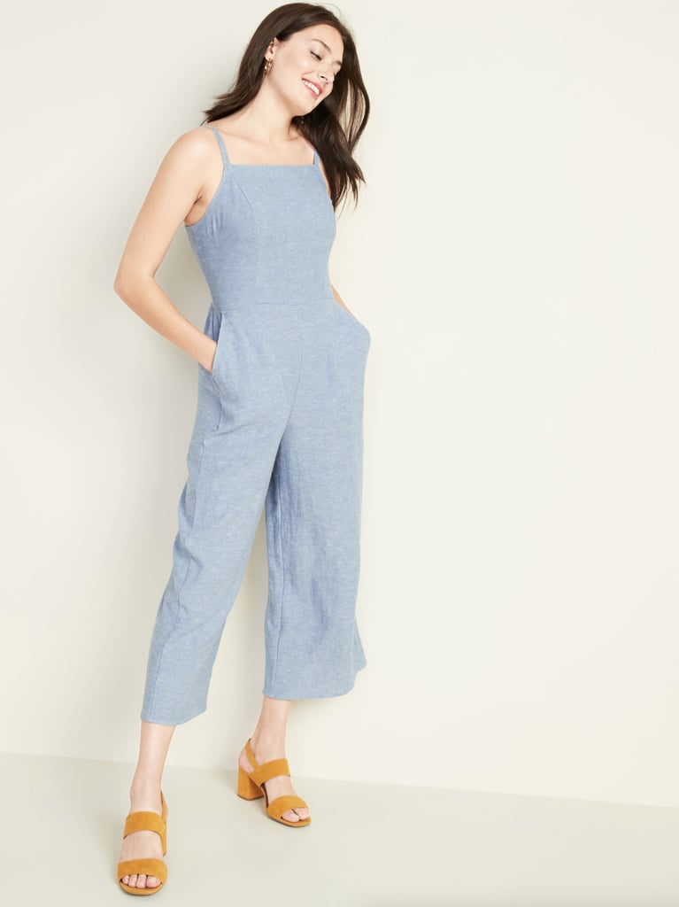 Old Navy Waist-Defined Square-Neck Linen-Blend Cami Jumpsuit in Blue