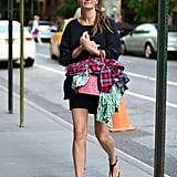 Julia's Summer street style could not have been any more smart when she stepped out in NYC in June 2013. A three-quarter-sleeved mini was met with thong sandals, and she toted a colourful bag too.