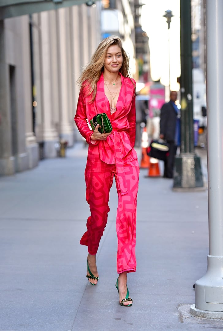 Gigi Hadid Was Caught Wearing a Pretty Pink Suit