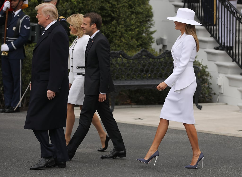 Melania Trump White Hat and Michael Kors Suit 2018