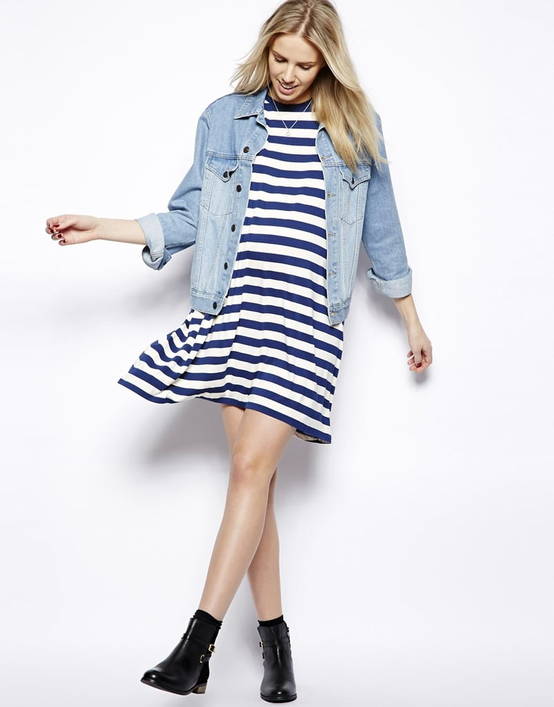 04c12e297079f ASOS Striped Maternity T-Shirt Dress. Share This Link