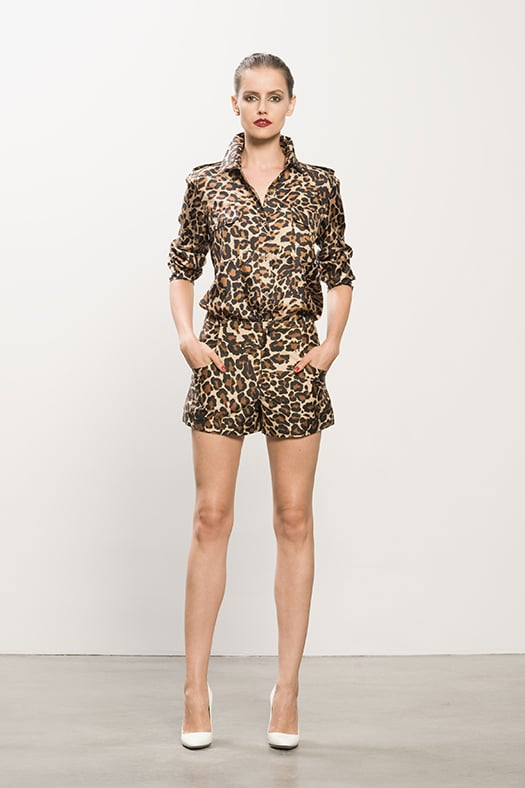 Silk Twill Double Pocket Leopard Blouse, Sateen Leopard Shorts, Heaven White Patent Pump. Photo courtesy of Tamara Mellon