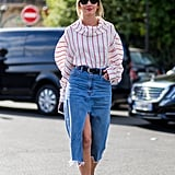Style a Long Denim Skirt With a Poufy-Sleeved Top