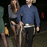 Alessandra Ambrosio was a sexy general, while her fiancé Jamie Mazur went Western at an LA party on Friday.