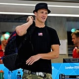 Ryan Lochte arrived at a USA team training session at London's Aquatics Centre on July 23, 2012.