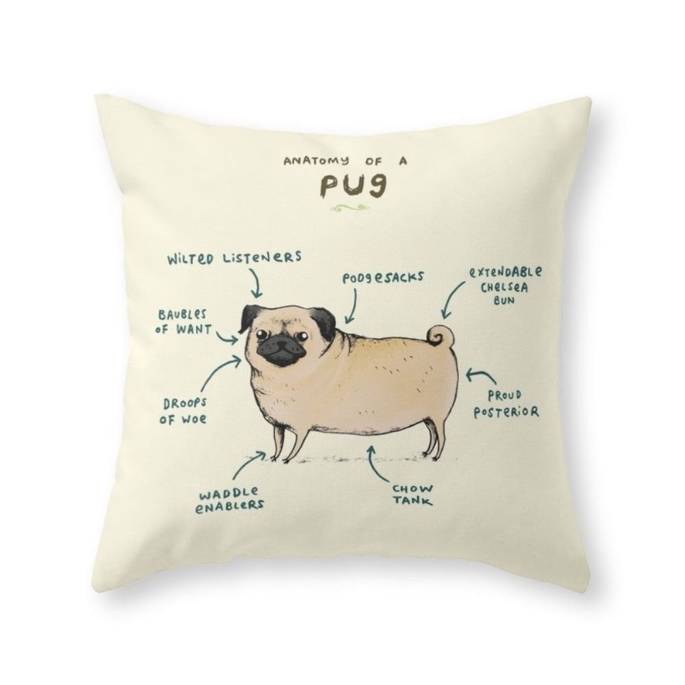 Anatomy of a Pug Throw Pillow Cover